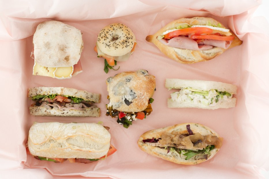 assorted mini bagels, ciabattas, rolls, baguettes and sandwiches