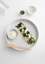 country road: live with us. grilled asparagus with wild garlic aioli and truffled pecorino