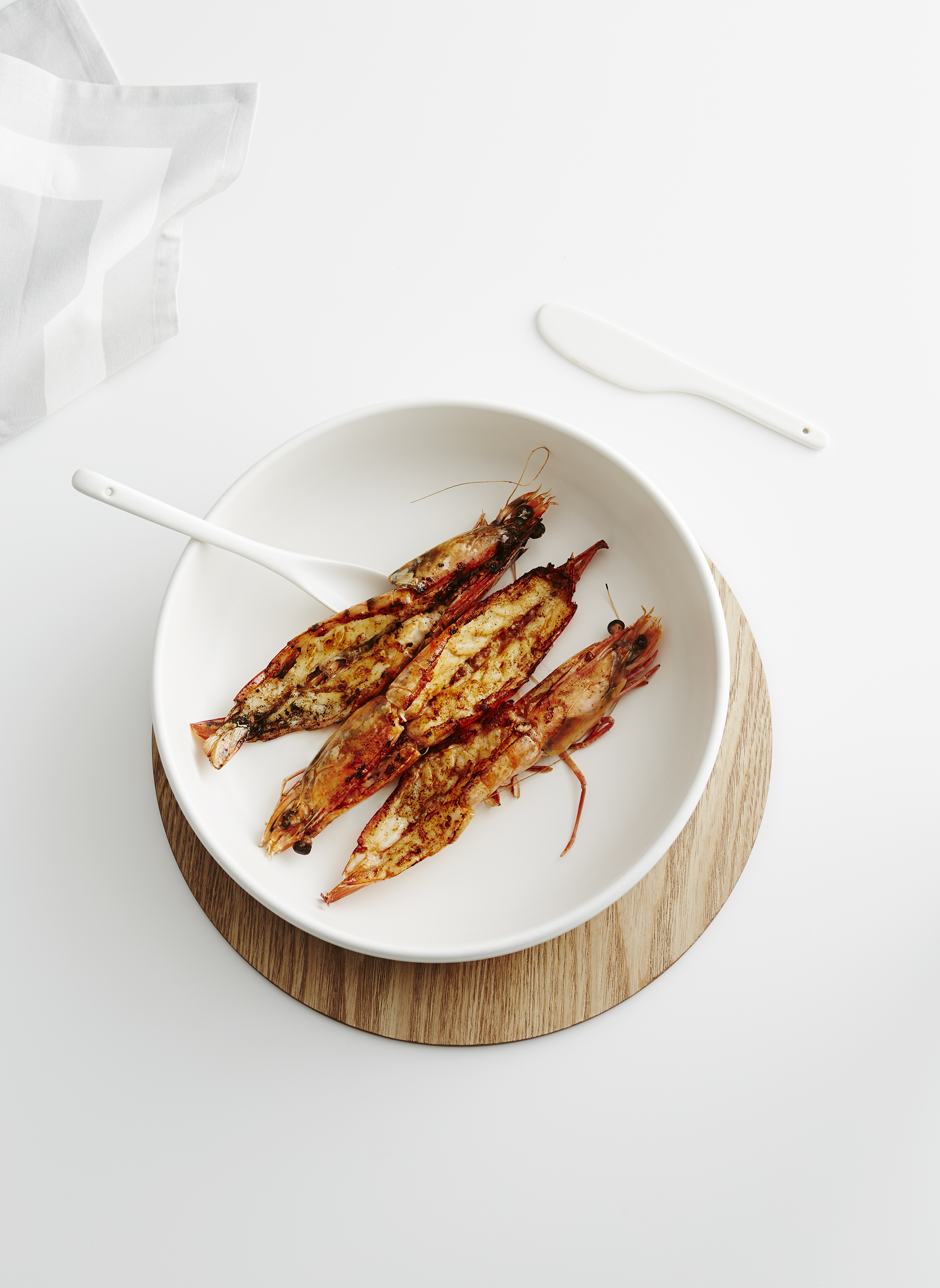 country road: live with us. butterflied king prawns with chermoula butter