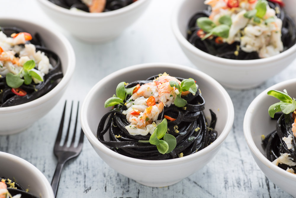 squid ink linguini, spanner crab mean, chilli, lemon