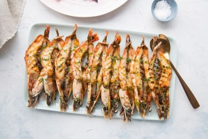 split bbq king prawns, chervil butter