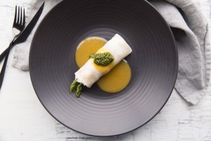 rice noodle cannelloni of blueswimmer crab & asparagus, ginger-soy butter, coriander-peanut pesto