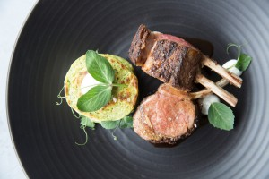double-cut spring lamb cutlets cooked over charcoal, pea & mint fritters, labne, pomegranate