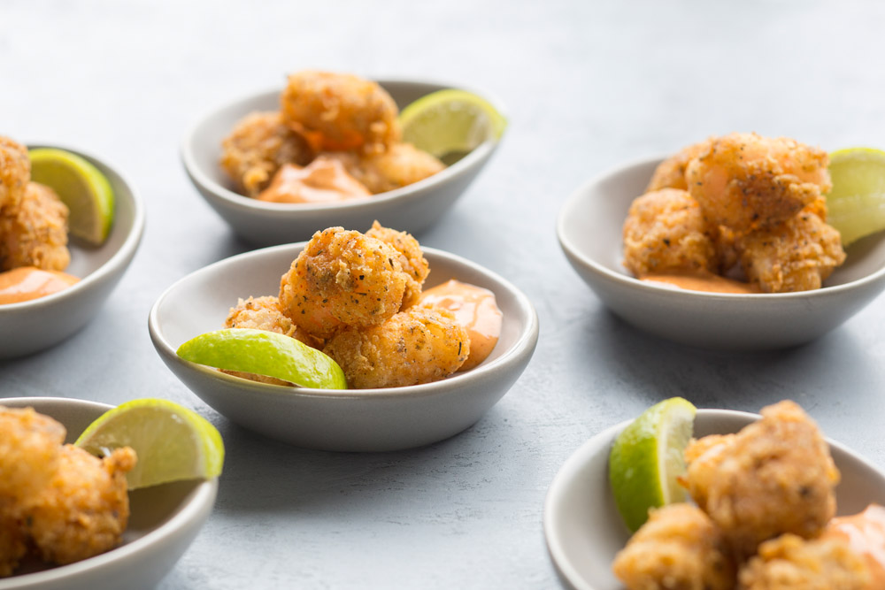 cajun popcorn shrimp, paprika aioli, lime wedge