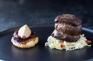 eye fillet of beef, candied wild onion tart, duck liver parfait, cider braised cabbage, lardons