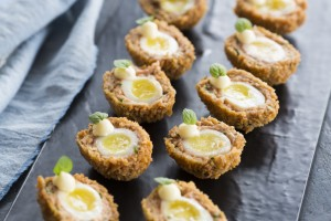 scotch quail eggs, brioche crumbs, truffle oil mayo