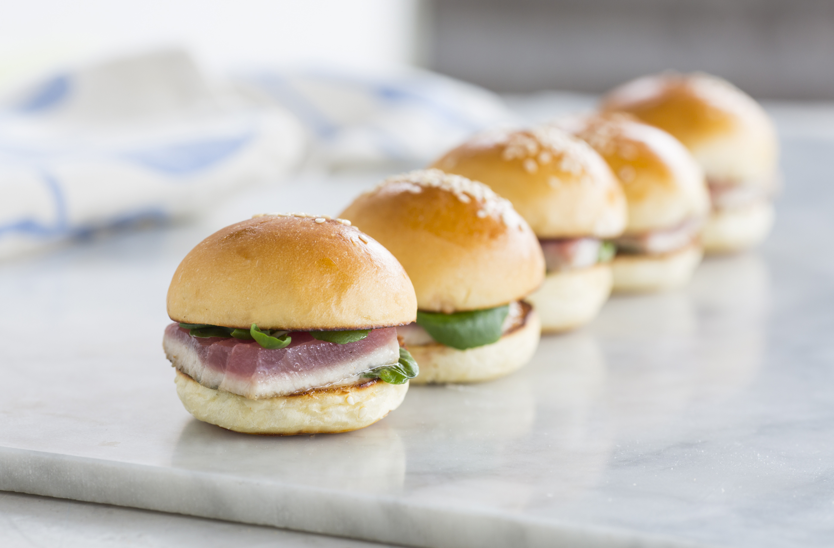 rare-seared tuna, horseradish mayo & watercress mini bun