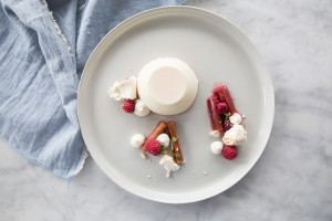buttermilk pannacotta, rhubarb, rosewater & crushed meringue