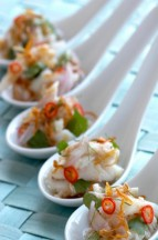 blueswimmer crab salad with asian herbs and sweetfish sauce