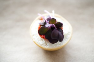 smoked goats curd tartlet with semi-dried cherry tomato and purple basil