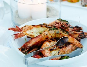 grilled king prawns with lemon and chervil butter